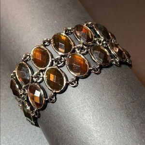 "Lia Sophia Cognac Faceted Stone Bracelet 7 1/2"""